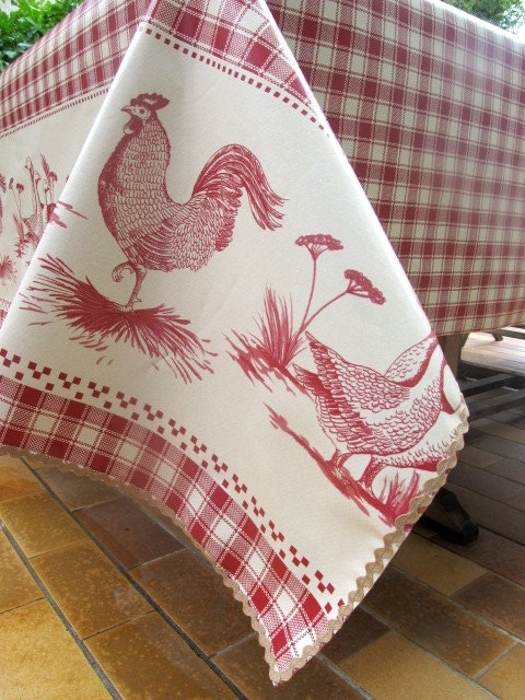 Red Check Tablecloth French Rooster Oilcloth Farmyard