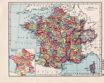 France map, 1930s vintage French map, travel decor