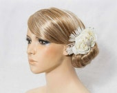 Bridal Hair Piece, Real Touch rose  hair comb, Ivory/ Cream/ Natural White, feathers, roses, rhinestones, crystals