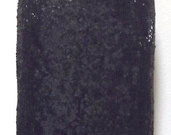 Vintage Black Sequined Skirt - Knee Length Sequined Skirt