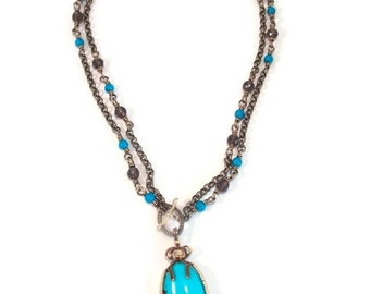 Turquoise Necklace, Sleeping Beauty Turquoise, Wire Wrapped Necklace, Turquoise Jewelry, Mixed Metal Jewelry