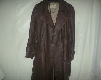 vintage Ladies  long leather coat