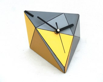LABOR DAY SALE Desk Clock, Wood clock, Unique gift, Table clock, Geometric Triangle Yellow Grey, Birthday Wedding gift home decor,