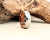 Cobalt Wooden Ring Lined with Bethlehem Olivewood