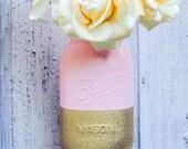 Blush Pink and Gold Wedding Vase Pink and Gold Glitter Colorblock Mason Jar Vase Quart Handpainted