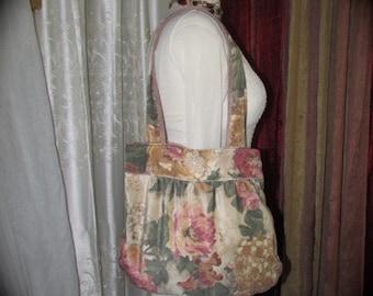 Floral Velvet Purse, vintage velvet bag handmade fabric bag, soft earthy pastels floral shoulder bag tote velvet handbag floral handbag