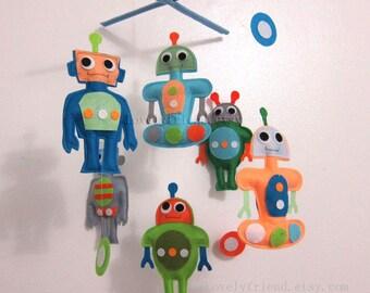 Baby Mobile - Baby Crib Mobile - robots theme mobile - rocket and robot nursery mobile - pick your colors