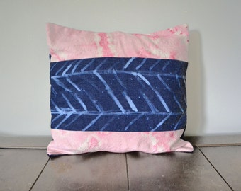 Pink and Blue Hand Dyed Pillow Cover, Shibori Pillow, Hand Painted Arrow on Recycled Denim, Valentines, Unique Gift