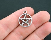 10 Pentagram Charms Antique Silver Tone 2 Sided - SC4168