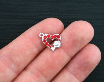 5 Heart Charms Antique Silver Tone Red Rhinestone Encrusted- SC3457