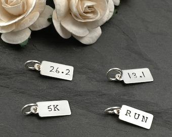 Tiny marathon rectangle tag - 13.1, 26.2, 5K, RUN, runner jewelry - Add a charm