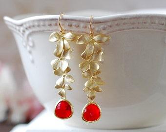 Ruby Red Glass Matte Gold Orchids Long Dangle July Birthstone Earrings Siam Red Teardrop Crystal Earrings Red Wedding Bridal Earrings