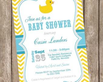 Rubber Ducky Baby Shower Invitation, rubber duck baby shower invitation, yellow and blue, chevron, printable, duck1