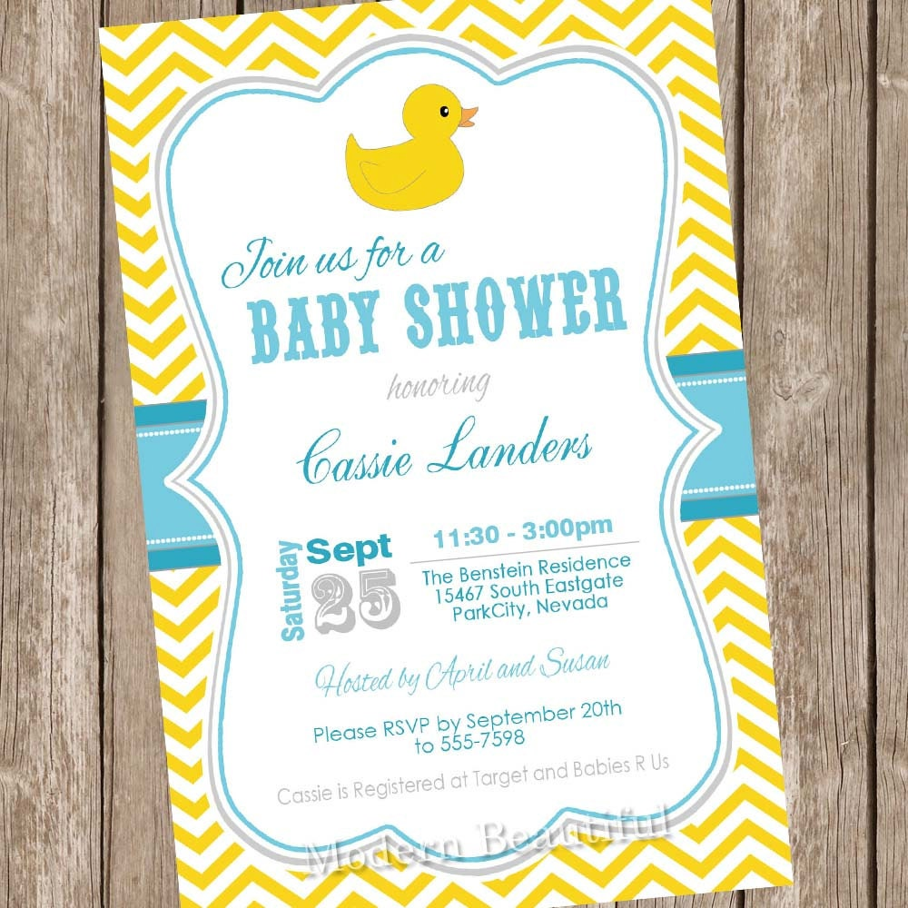 rubber ducky baby shower invitation rubber duck by modernbeautiful