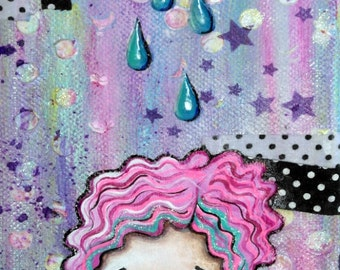 Mixed Media Girl & Rain Cloud Kawaii Big Eye Giclee Art Print Signed Reproduction Sillie Smilie Showers by Lizzy Love [IMG#105]