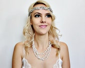 Silver lace headband with silver and gold beads art deco 1920s flapper