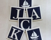 Nautical Baby Nursery, Name Wall Letter to Hang Above Crib, 6 x 6 Personalized Wooden Plaques, Navy Blue Sailboat Baby Nursery Shower Gift