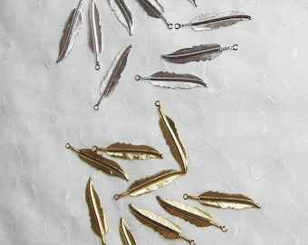 """Gold or Silver Feather Charms plated brass 32x7mm (1-1/4"""" x 11/16ths inch) feather Lot 10 (Qty 10 of either gold or silver)"""