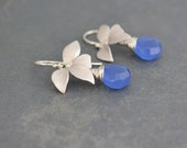 Blue Chalcedony Wild Orchid Silver Earrings, Wired Wrapped, Argentium Sterling Silver Hoops, Gift Under 30