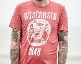 Wisconsin State Seal T-shirt. Vintage Style Soft Retro Wisconsin Shirt Unisex Men's Slim Fit and Women's Tee