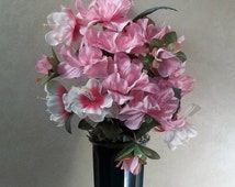 Memorial Flowers for Grave Decoration pink white azaleas cemetery flowers memorial flower arrangement grave flowers headstone decoration