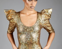 Holographic Gold Top w. Pointy Puffy Sleeves, Dance Stage Wear, Hologram Glitter, Glam Rock Clothing, Burning Man Outfit, by LENA QUIST