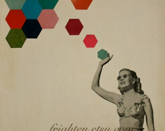 Geometric Art, Dorm Room Decor, Colorful Hexagons 8.5 x 11 Inch Paper Collage Print