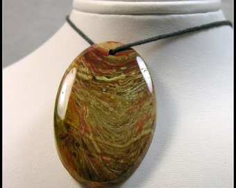 Wild Colorful Oval Carrasite Jasper Focal Bead