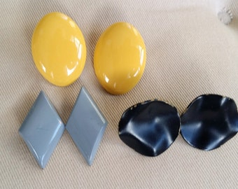 1980s Yellow, Gray, and Black Metal Enamel Earrings, Lot of 3