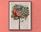 Wall decor Collage Tree with Bird Print on Vintage Book page - Perfect  gift- altered art -dictionary page illustration book print BPAN220b