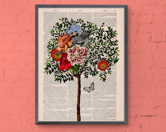 Summer Sale Tree with Bird Print on Vintage Book page,wall decor dictionary page illustration book print ANI220