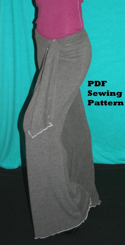 Ladies Yoga Pants Pattern Bell Bottom Lounge Pants Sewing