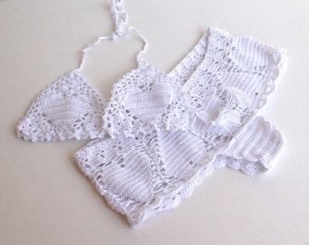 white crochet shorts heart crochet bikini top Women Swimwear Swimsuit Summer Beach Wear Bathingsuit Festival Clothing For Her  senoaccessory