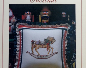 Teresa Wentzler Dreamscape CHESTNUT Christmas CAROUSEL HORSE Pillow or Picture By Just Cross Stitch - Counted Cross Stitch Pattern Chart