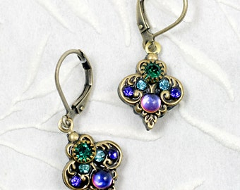 Michal Golan Green and Blue Spade Wire Earrings