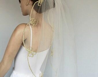 Hips Length Veil, Gold Embroidered Trim, Bridal Hair Tulle Blusher Modern Wedding Handmade