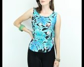 80s 90s HAWAIIAN Print Tropical Sleeveless Top Blouse Shirt, Small