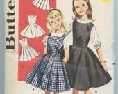 1960s Butterick 9914 Girls' Jumper Dresses Box Pleated Skirt Full Skirt Vintage Sewing Pattern Size 10 Breast 28 UNCUT