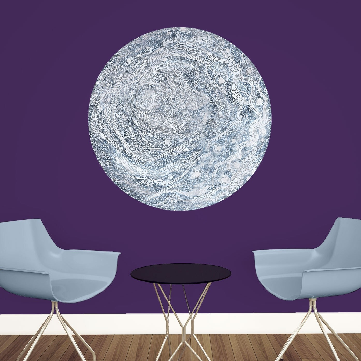 celestial moon wall decal astronomy art by elise mahan. Black Bedroom Furniture Sets. Home Design Ideas