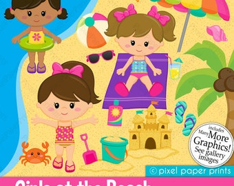 Girls at the Beach Clipart - Clip Art and Digital paper set