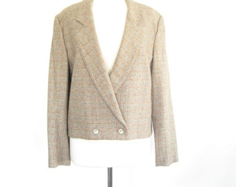 Vintage Tan Tweed Blazer. Wool and Silk. Size Large. 1980s Women's Blazer. Made in the USA