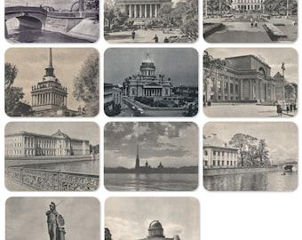 Leningrad. Set of 11 Vintage Postcards - 1950s, Izogiz