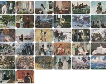 Leo Tolstoy - War and Peace, Illustrations by Nikolaev. Set of 32 Vintage 8''x6'' Prints -- 1981. Fine Arts, Moscow