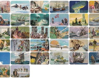 The Great Explorers, Geographical Discoveries. Drawings by Pavlinov. Set of 32 Vintage Prints, Postcards - 1979. Fine Arts Publ., Moscow