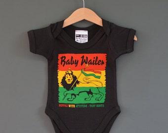 Baby Wailer Reggae Baby One Piece (baby onesie). Alternative baby Bodysuit / Babygrow. A Rasta Baby tribute to Bob Marley and The Wailers
