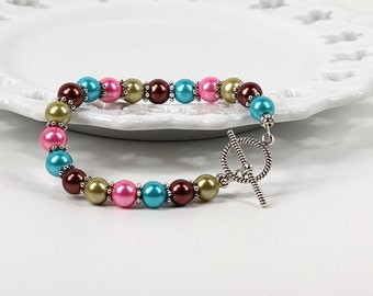 Carnival Pearl Bracelet with Toggle Clasp
