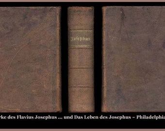 1841 Flavius Josephus, Early American Printing of Die Werke des Flavius Josephus in German, Engraved illustrations, Antique Leather Book