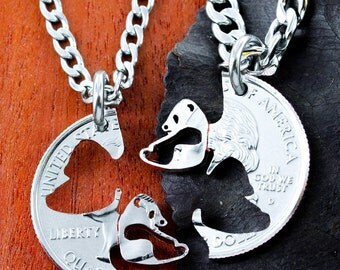 Panda Necklace set, Asian Jewelry, Interlocking Couples Necklaces, Hand Cut Coin
