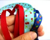 RESERVED-Retro Red Summer Cherries & Leaves Grosgrain Ribbon Lot-Royal Blue and Teal with Shiny Cherries-Red-George Washington