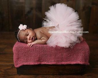 Pink Baby Girl Tutu Pale Pink Tutu Pink Tutu Pink Baby Tutu Pink Newborn Tutu Pale Pink Newborn Tutu With Flower Headband Newborn Photo Prop